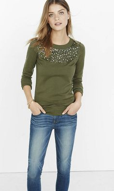 Rhinestone Embellished Crew Neck Sweater | Express