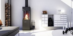 RAIS fireplace tools in a raw and contemporary design that combines steel, iron and concrete. You can place it on the floor or mount it on the wall. Wood Burner Fireplace, Log Store, Log Burner, Hygge, Cottage Style, Interior Inspiration, Contemporary Design, Home Appliances, Interior Design