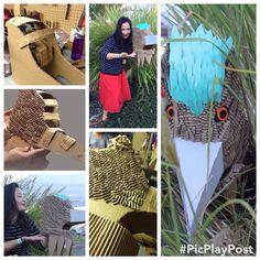 Cardboard bird inspired by cardboard collective's wolf mask.
