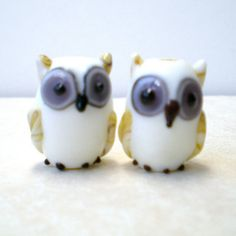 8 pcs Owl Lampwork Beads White Owl Beads Glass door LynnetteJewelry, $24.00