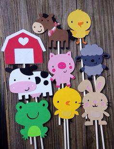 5 Farm Animal Centerpiece Sticks Farm Party Banner by MiaSophias Cowabunga Farm VBS 2016 Farm Animal Party, Farm Animal Birthday, Barnyard Party, Farm Birthday, Farm Party, 2nd Birthday Parties, Birthday Cake, Décoration Baby Shower, Baby Shower Cupcake Toppers