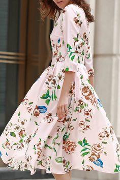 Floral Print Midi Dress ==