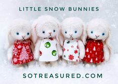 These four little snow bunnies were made using the Matilda bunny pattern from sotreasured.com. Fully-jointed and posable, these wee bunnies are SO much fun to make and dress! Made using winter-white vintage style mohair, imported blue glass eyes, and easy cotter pin and discs joints. Why not create your own heirloom quality keepsake? Full tutorial instructions, pattern templates, outfits, photos, and videos available! Elephant Pattern, Cat Pattern, Free Pattern, Snow Bunnies, Cute Teddy Bears, Winter White, Bunny Rabbit, Matilda, Vintage Style