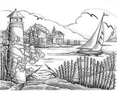 Free coloring pages of lighthouse
