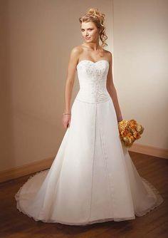 long white strapless wedding dress