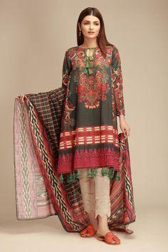 Khaadi Blue Winter Collection 2018 Whatsapp: 00923452355358 Website: www. Stylish Dresses For Girls, Stylish Dress Designs, Designs For Dresses, Casual Summer Dresses, Winter Dresses, Pakistani Fashion Party Wear, Pakistani Outfits, Party Fashion, Fashion Fashion