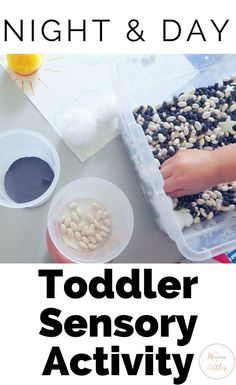 Establish fine motor skills as well as sorting skills with this super simple night and day sensory bin. Perfect for a Space or Weather Theme Toddler School day.