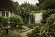 Walled kitchen garden at the home of Ina Garten, East Hampton, Long Island, New York.