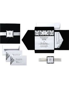 $20 for 25 Black & White Scroll Square Pocket Printable Wedding Invitations Kit - Party City