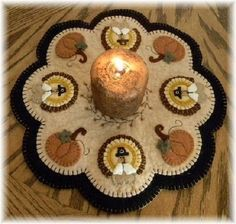 PATTERN~Little Pilgrims~Turkey Pumpkin Penny Rug/Candle ...