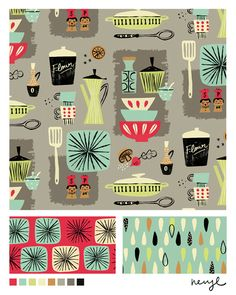 Bolt fabric design, 'Kitchenette' with vintage kitchen theme by Neryl