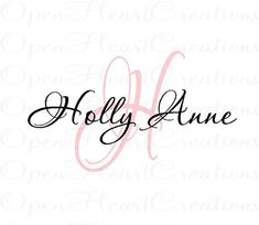 Name and Initial Vinyl Wall Decal  Elegant by openheartcreations, $45.00