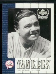 2000 Upper Deck Yankee Legends Babe Ruth Baseball Card - Mint Condition - In Protective Display Case by Upper Deck. $12.95. This affordable card will make a fine addition to any collection. Please contact us if you have any questions or need to see a scan of this great card.
