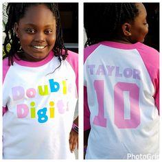 Girl Birthday Themes, Bday Girl, Birthday Fun, Birthday Shirts, Double Digit Birthday Ideas, Aaliyah Birthday, Sleepover Birthday Parties, Pokemon Birthday, Birthday Pictures