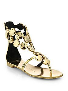 Giuseppe Zanotti - Metal Paillette Metallic Leather Sandals