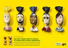 This print advertising campaign for Ricola's herbal drops was designed by JVM studio (with illustration by Julien Canaveses). Each of the six candies included the face of a famous singer like Elvis Presley, Luciano Pavarotti, Madonna, and others. And as part of the marketing strategy these goods were offered to spectators at concerts.