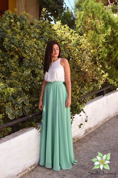Blue Green Skirt, Chiffon Skirt, Long Skirt, Women Skirt, Fashion Skirt, Circle skirt, Loose skirt, Prom Skirt, Engagment Skirt, Party Skirt Ivory Lace Top, Wedding Skirt, Party Skirt, Chiffon Skirt, Bridesmaid Dresses, Bridesmaids, Skirt Fashion, Cute Dresses, Blue Green