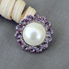 10 Rhinestone Buttons Round Pearl Light Lavender Purple Crystal Hair Flower Comb Clip Wedding Invitation BT119