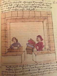"""Trattato dell'arte della seta, cap. 74 cc.47r-47v. fig. 47 """"Libro de' tessitori"""" Merchandising Displays, Firenze, Stalls, 15th Century, Farming, Fig, Renaissance, Weaving, Workshop"""
