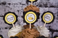 Bumble Bee Cupcake Toppers Baby Shower - Black &Yellow