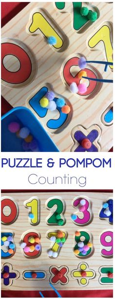 Puzzle and Pom Pom Counting Activity for toddler, preschool, prek, kindergarten