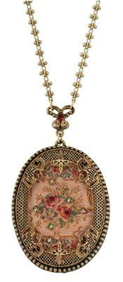 Michal Negrin Pendant Necklace w Antique Roses Cameo & Green Red Beige Crystals on eBay!