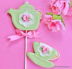 Green Teapot and Teacup Cookies by DaintyDelightsInc on Etsy, ƸӜƷ✿ Pinned by Colette's Cottage ✿