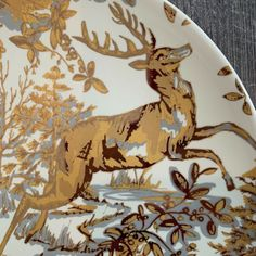 Set of POTTERY BARN ~ Alpine Toile in GOLD. Gorgeous gold, silver and cream colored salad plates. Green Wreath, Twinkle Star, Green Christmas, Salad Plates, White Porcelain, Farm Animals, Autumn Leaves, Pottery Barn, Reindeer