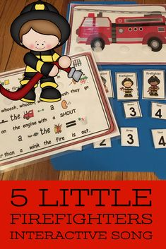 Five Little Firefighters This is a fun circle time song that is interactive and can be secured to a folder to create a simple and easy song activity that is easy to store. This is a great song/poem for fire safety theme or community helpers. Fluency Activities, Language Activities, Hands On Activities, Kindergarten Activities, Teaching Special Education, Teaching Resources, English Language Learners, Language Arts, Preschool Lessons