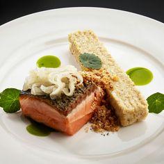 Salmon, nasturtium, amaranth
