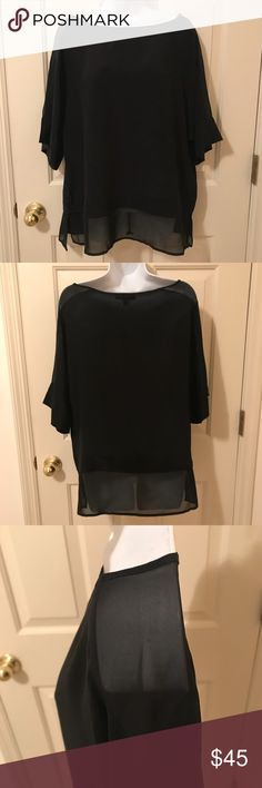 """NWT Banana Republic Black Silk Blouse Chic 100% silk black blouse with sheer panel on sleeves and at hemline (see pics). 22"""" bust 27"""" top back to hem  24 3/4"""" front scoop neckline to hem  4"""" sheer drop (front). 5"""" sheer drop (back) 💜Thanks for shopping my closet!💜 Banana Republic Tops Blouses"""