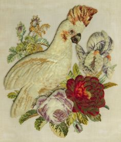 ANTIQUE VICTORIAN BERLIN WOOLWORK & PLUSHWORK EMBROIDERY of a COCKATOO / PARROT