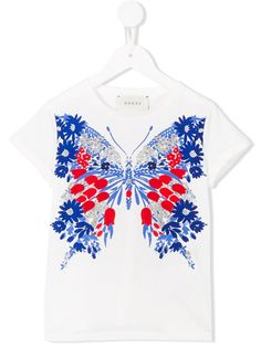 Gucci Kids 플로럴 나비 프린트 티셔츠