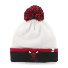 c7d053688a4 Chicago Bulls 47 Brand White Black Baraka Retro 1984 Poofball Beanie Hat Cap