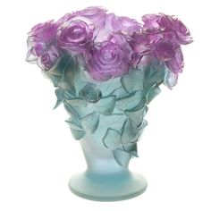 Large Rose Ultraviolet Vase by Daum Crystal - changes from pink to blue according to the light.