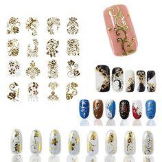 Hot Gold 3D Nail Art Stickers Decals,108pcs/sheet Top Quality Metallic Flowers Mixed Designs Nail Tips Accessory Decoration Tool ** Ver el elemento en detalles haciendo clic en la imagen