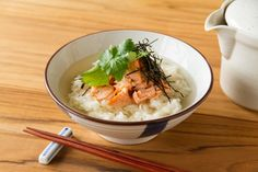Ochazuke (Salmon and Rice with Dashi Stock):Simple recipe, put cooked salmon on boiled rice. Green tea is fine instead of Dashi stock. provided by OYSHEE - easy recipes -