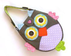 Girls accessories, little girl bag, owl bag, fabric bag, fashion bag