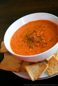 Roasted Red Pepper Hummus Dip | recipe from Melody Fury