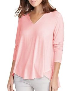 Lauren Ralph Lauren Georgette-Back V-Neck Top Women's Pale Rose Medium