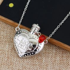 Love Potion Heart Bottle Necklace Pendant Accessories Lovers Jewelry Gift Silver #LoversNecklaceChina #Pendant