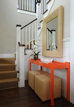 Nantucket entry with oomph console, mirror, and cubes.