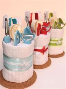 Kitchen towel cake - great for housewarming or bridal shower!                                                                                                                                                     More