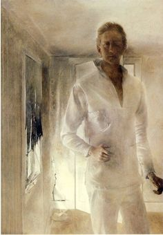 Andrew Wyeth- self-portrait, 1949. one of the most haunting paintings I have ever seen in person