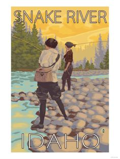 Women Fly Fishing, Snake River, Idaho Art Print
