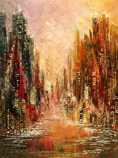 Original Cityscape Painting Palette Knife Handmade by TatianasART