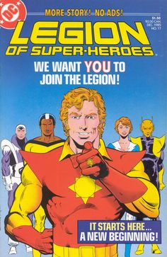 """We want you to join the Legion!"" - Legion Of Super-Heroes N°17 (December 1985) - Cover by Greg LaRocque, Larry Mahlstedt, and Anthony Tollin"