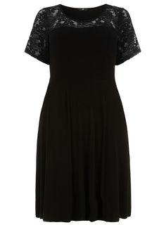 Evans Black Lace Sleeve Skater Dress > www.evans.co.uk.