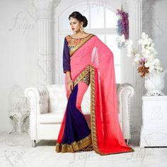 USD 107.59 Pink Faux Georgette Lace work Party Wear Saree   38341