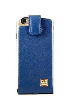 #Funda de #Cuero Azul auténtico #finger360 colección nautica #iphone